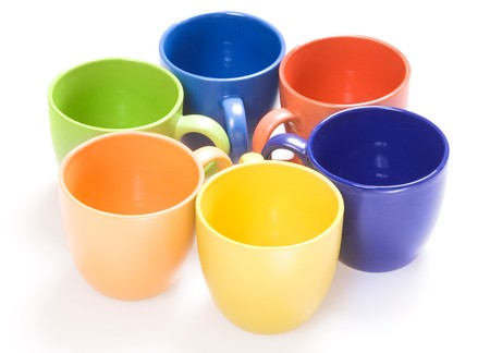 Color cups isolated on white background. Banque d'images