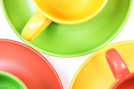 Color cups isolated on white background. photo