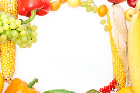 frame of fresh vegetables and fruits photo