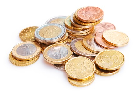 Euro coins isolated on white photo