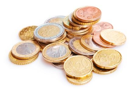 monedas antiguas: Monedas de euro aisladas en blanco Foto de archivo