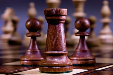 Chess on the dark background. photo