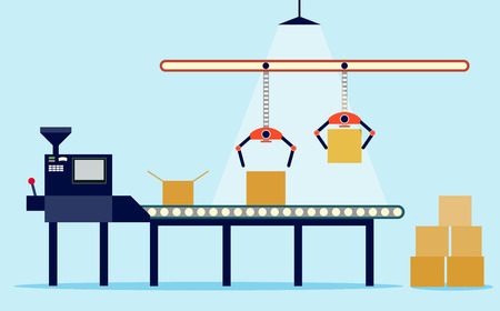 Illustration of production in flat style. conveyor and boxes.