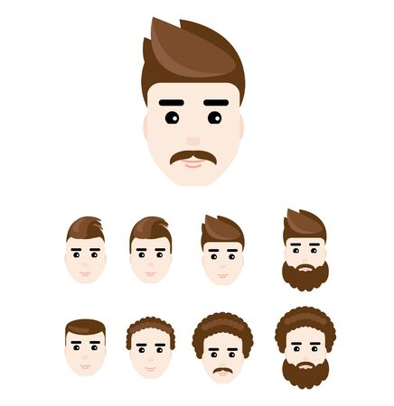 men cartoon: Set of young man faces in flat style