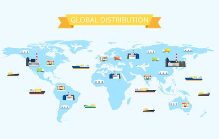 世界地図ベクター グラフィック周りグローバル国際ビジネス物流ネットワーク