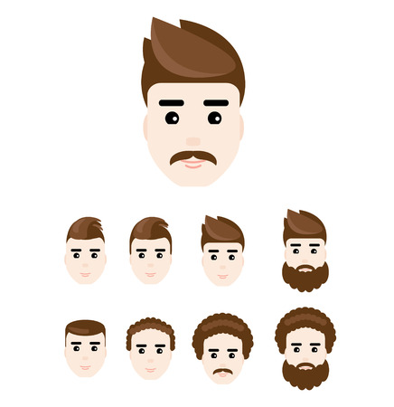hairdos: Set of young man faces in flat style