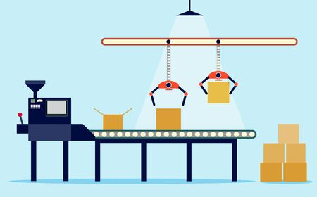 Illustration of production in flat style. conveyor and boxes. Stok Fotoğraf