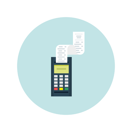 Payment process - illustration. POS terminal and check