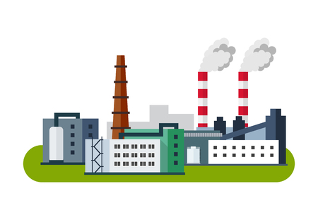 industry: Industrial Factory Icon, Vector illustration in flat style.