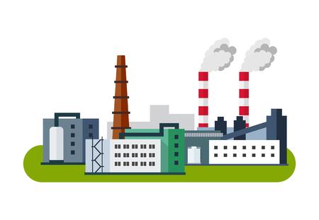 paesaggio industriale: Industriale Icon Factory, illustrazione vettoriale in stile piatta.