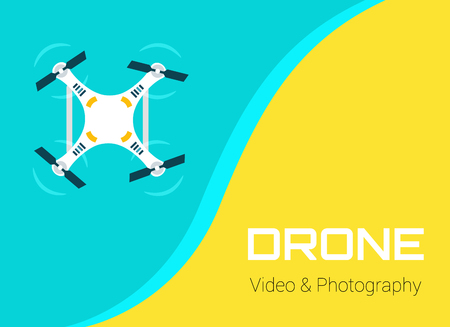 aerial: Drone Video and Photography. Vector isolated Drone on green background. Vector Drone. Aerial drone flying flying over the sea