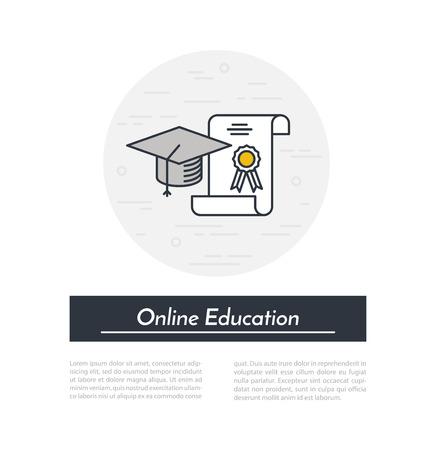 Ligne icône de l'éducation. Outline cap diplômé et charte internet concept éducation. Vecteurs