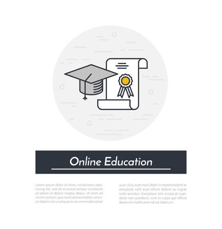 charter: Online education icon. Outline graduate cap and charter internet education concept. Illustration