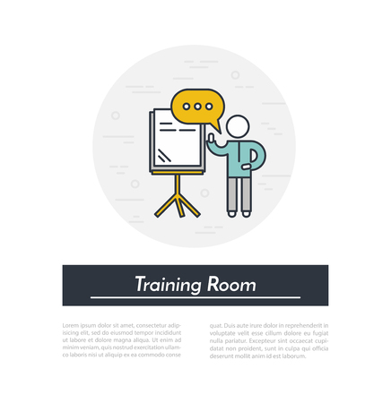 board room: Training Room. Speaker stands near the presentation board in training room and holds seminar. Outline illustration. Training seminar in conference room concept. Illustration