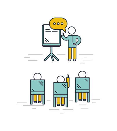 teacher and student: Training classroom vector illustration. Man giving a presentation in classroom. Training seminar concept in outline style.
