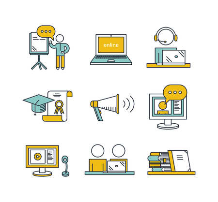 charter: Outline education icon set. Online education concept. Man watching or holding online webinar, computer and webcam,  viewers, online translation, books, graduate cap and charter. Illustration