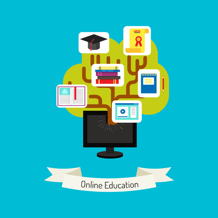 knowledge tree: Flat design vector. Online education concept illustration. Knowledge tree grows and divides monitor. Creative flat illustration of webinar, online education, lectures and training in internet. Illustration