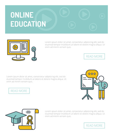 charter: Online education concept template.  Speaker stands near the board and holds seminar, computer and webcam, graduate cap and charter.