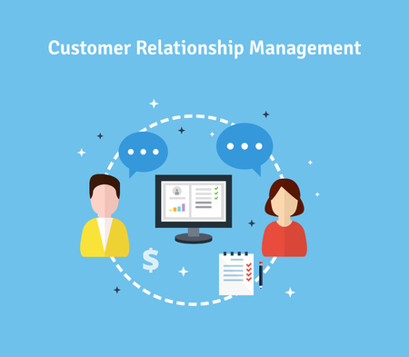 organization: 고객 관계 관리. 대상, 목적, 지원, 거래의 평면 아이콘. 고객과의 작업에 대한 데이터의 조직의 개념입니다. CRM 및 회계 시스템. 벡터 일러스트 레이 션.