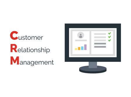 relationship management: Customer Relationship Management. Flat icon of accounts in computer system. Customer database and CRM inscription. Illustration