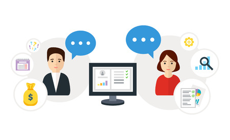 communicates: Customer Relationship Management, flat vector illustration. Client communicates with manager. Icons of client, manager, account system. CRM concept.