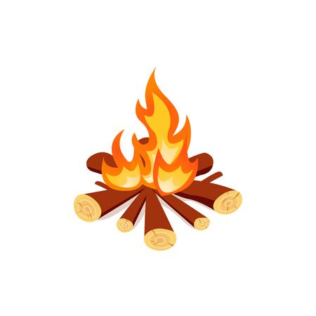 Feu icône isolé. Campfire dans le style de bande dessinée sur fond blanc