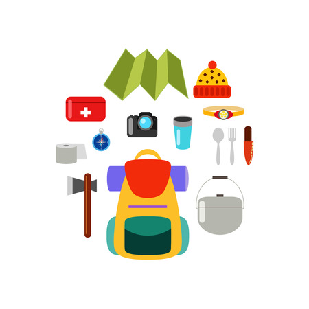 hike: What to bring on a hike. Hiking equipment. Set of isolated vector elements, hiking concept.