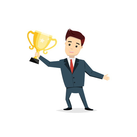 profesional: Cartoon man champion with trophy cup. Satisfied smiling man holding in his hands cup vector illustration. Success, business concept in flat style. Illustration