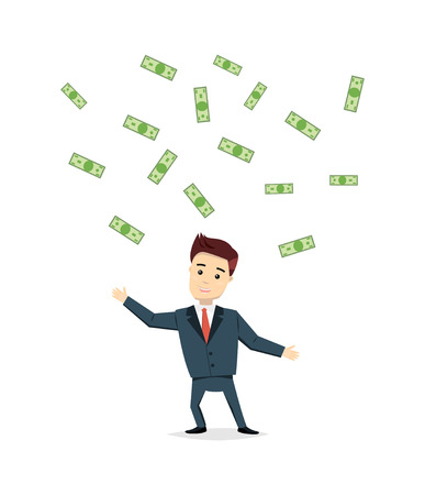 profesional: Satisfied businessman cash cost under the rain. Success, business concept in flat style. Vector cartoon man winner chasing money.