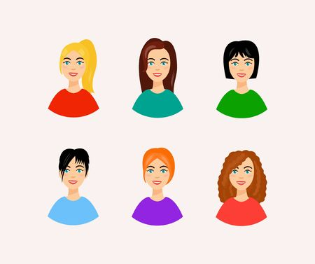 smiling faces: Set of women faces with beautiful and colorful hairstyles. Vector illustration of different hairstyles. Smiling woman faces in cartoon style.