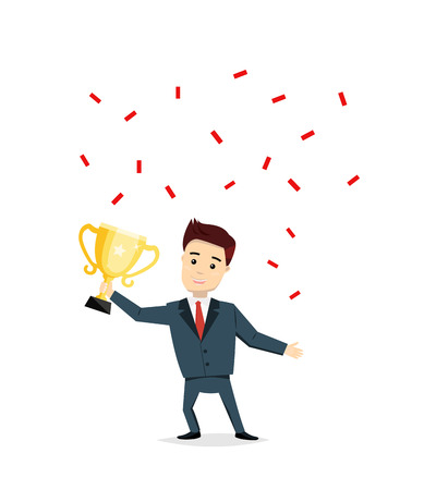 satisfied: Cartoon man champion with trophy cup. Satisfied smiling man holding in his hands cup vector illustration. Success, business concept in flat style. Illustration