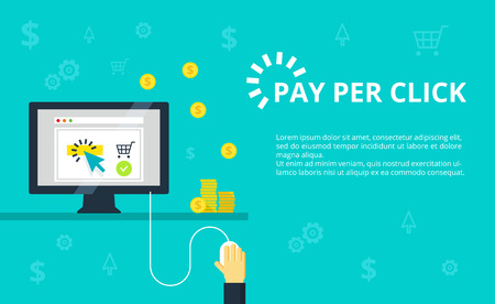 Pay per click - internet marketing, advertising concept in line and flat style. Hand clicks on mouse and making online purchase. PPC and conversion vector illustration. Illustration