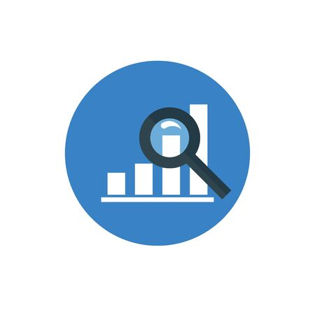 dynamic growth: Analytics Icon - vector illustration. Graph and Magnifier symbol on blue background - round color icon. For website graphics, mobile apps, web page layout design. Illustration
