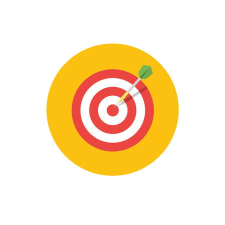 attainment: Goal Icon - vector illustration. Target symbol on yellow background - round color icon. For website graphics, mobile apps, web page layout design. Illustration