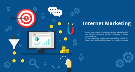 Internet Marketing and Advertising concept. Online marketing promotion traffic concept internet bisiness and advertising icons. For website graphics, mobile apps, web page layout design.