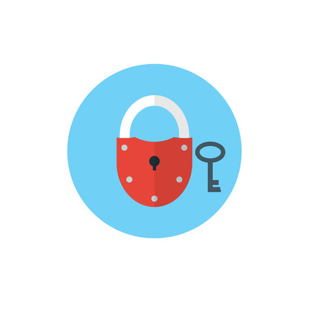 Lock with Key Icon -flat vector illustration. Security and privacy concept. Key and Lock symbol on blue background - round color icon. For website graphics, mobile apps, web page layout design.
