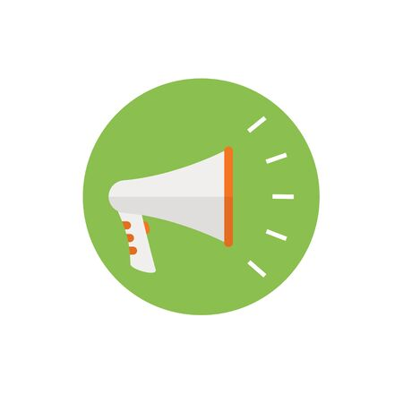 Megaphone Icon -flat vector illustration. concept. Loudspeaker icon n green background - round color icon. For website graphics, mobile apps, web page layout design.