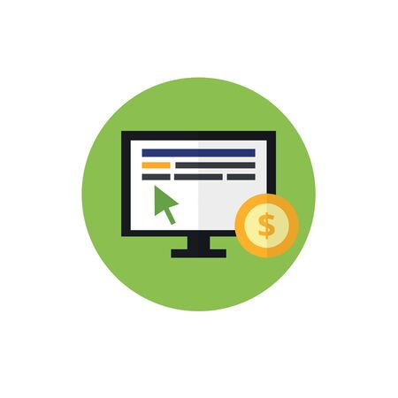 PPC flat vector icon. Pay per click and internet advertising concept. The mouse on the monitor and coin. For website graphics, mobile apps, web page layout design. Illustration