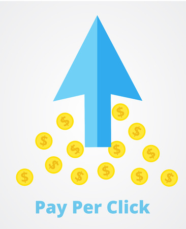 PPC pay per click flat online internet marketing concept web vector illustration. Big blue arrow and many coins. Pay per click marketing, advertising, ppc affiliate program concept.