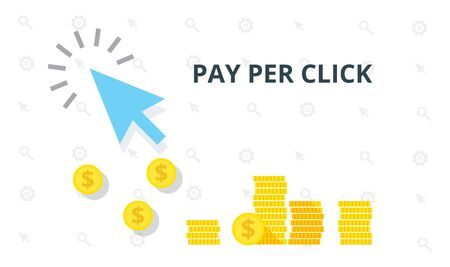 PPC pay per click flat online internet marketing concept web vector illustration. Blue arrow and many coins. Pay per click marketing, advertising, ppc affiliate program concept.