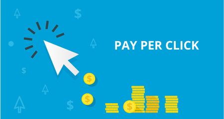 PPC ペイパーミニッツ クリック オンライン インターネット マーケティング概念 web ベクトル図です。青い矢印と多くのコインです。クリックしてマ  イラスト・ベクター素材