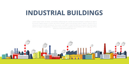 manufactory: Industrial Buildings vector illustration. Different types of constructions factories and plants - horizontal banner. Vector template for your design.