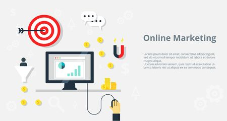 Internet Marketing and e-commerce concept. Vector illustration for website element , web banner and promotional materials.
