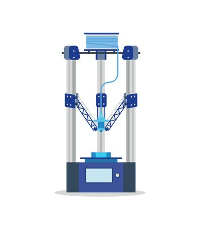 printing machine: 3d Printing Machine printing a piece of plastic. Flat vector isolated icon.