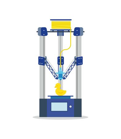 printing machine: 3d Printing Machine printing a toy. Flat vector isolated icon.