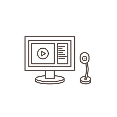 webcam: Online webinar line Icon. Monitor and webcam. Illustration