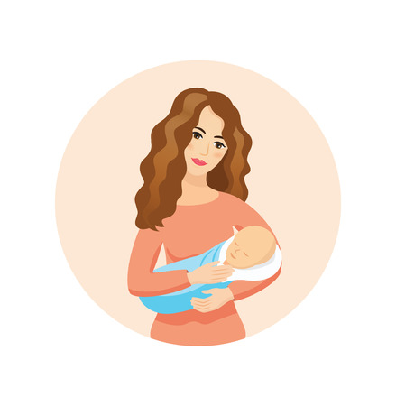 Young beautiful mother holding sleeping baby - vector icon. Motherhood and love conception. Illustration