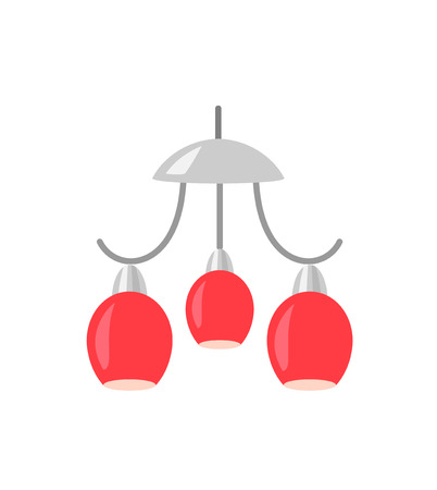 chandelier isolated: Red Chandelier isolated on white background. Hanging lamp vector illustration.