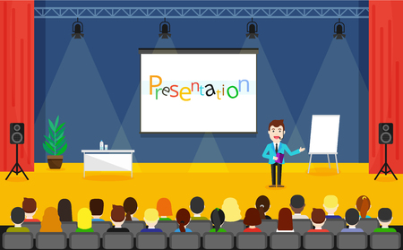 stage coach: Public Speaking concept. Business Training vector illustration. Speaker in a suit and with microphone standing near flipchart. Illustration