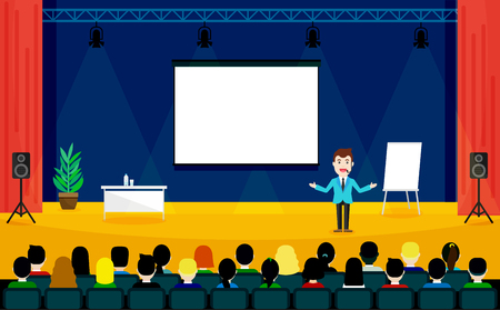 stage coach: Public Speaking concept. Business Training vector illustration. Speaker in a suit and with microphone standing near flipchart. People sitting at the conference in flat style.